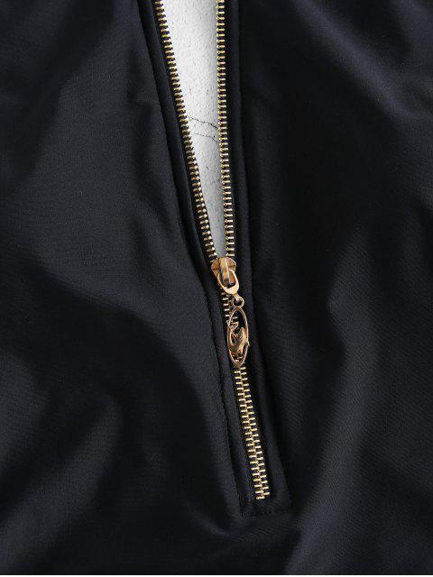 womens ZAFUL Zipper High Neck Cut Out Swimsuit - BLACK M Mobile
