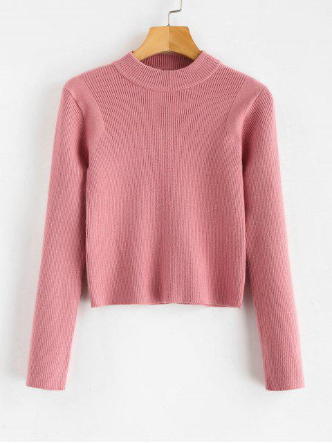 ladies Mock Neck Cropped Pullover Sweater - KHAKI ROSE ONE SIZE Mobile