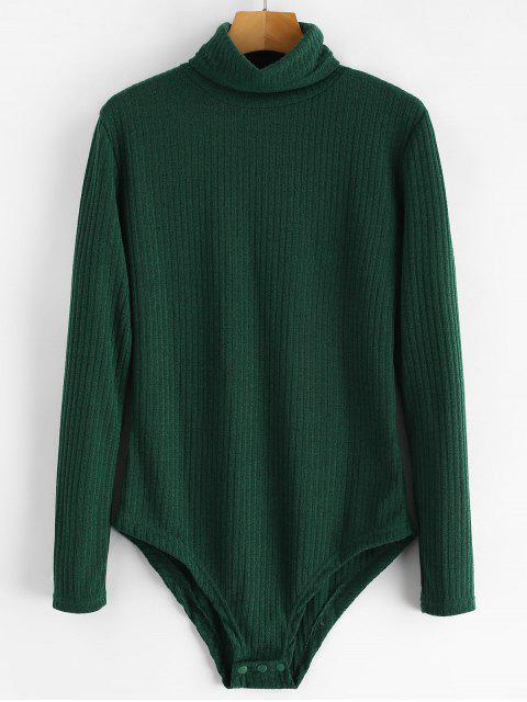 Body en tricot côtelé à col roulé - Vert profond XL Mobile