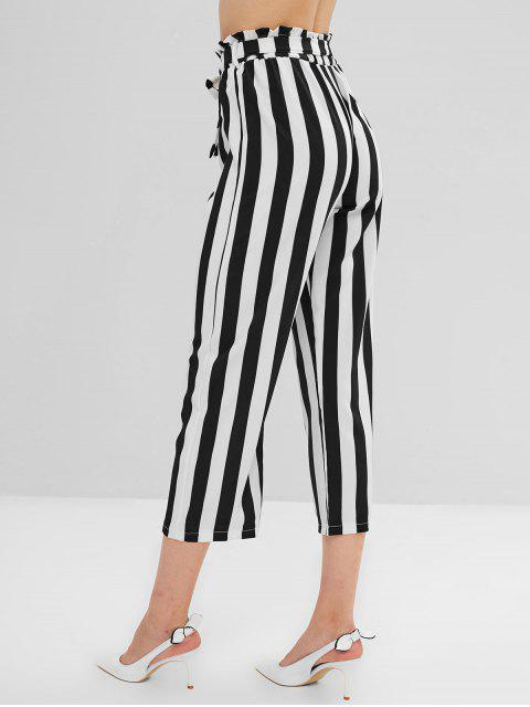 shop Striped Ruffle Belted Straight Pants - MULTI-A M Mobile