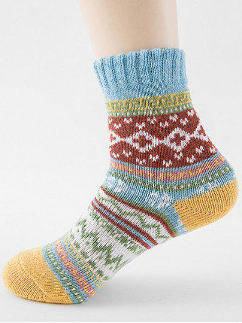 fancy Ethnic Style Printing Thick Socks - DAY SKY BLUE  Mobile