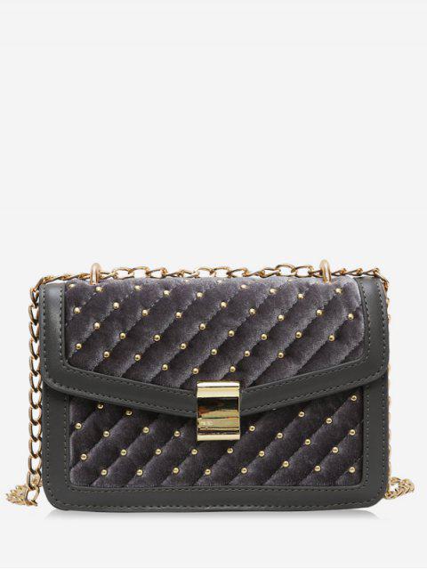 women's Rivets Square Design Crossbody Bag - GRAY  Mobile