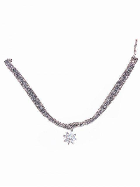 unique Snowflake Rhinestone Party Choker Necklace - SILVER  Mobile
