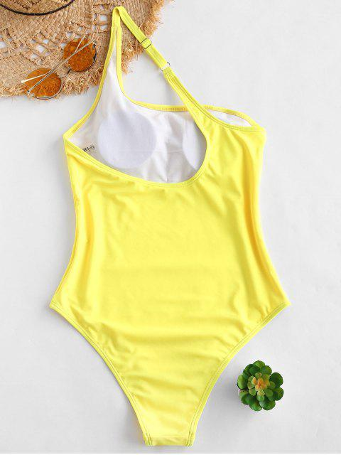 unique ZAFUL One Shoulder One Piece Swimsuit - YELLOW L Mobile