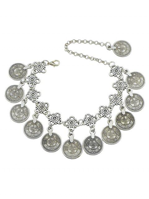 womens Ethnic Style Coins Design Alloy Anklet - SILVER  Mobile