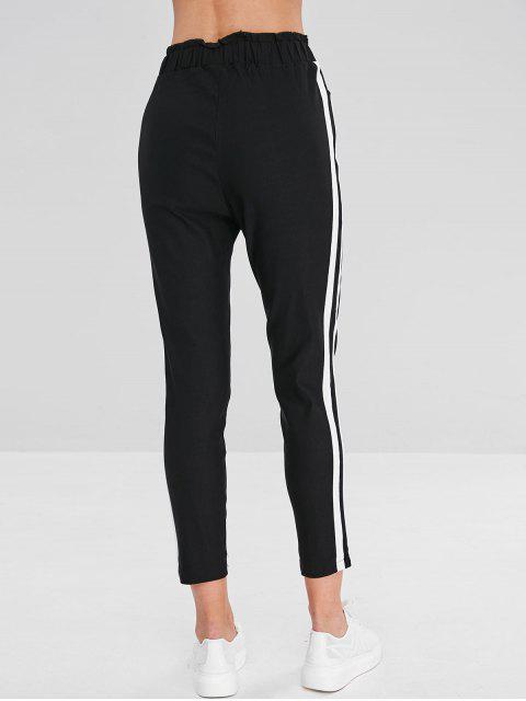 hot Striped Side Ruffle Pencil Pants - BLACK M Mobile