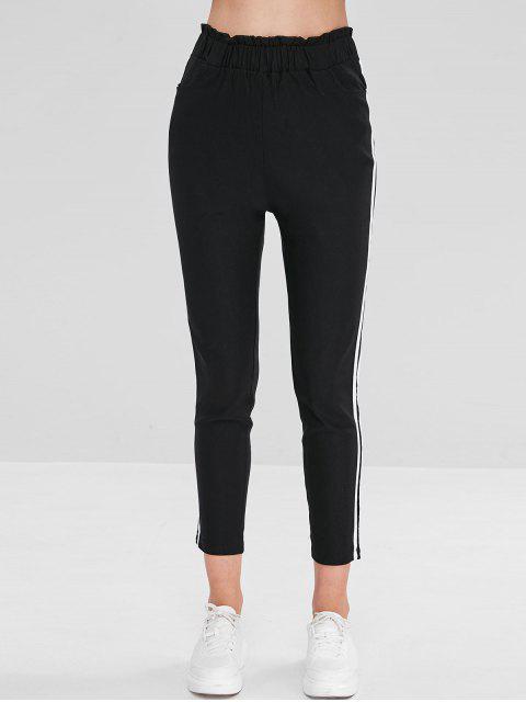 online Striped Side Ruffle Pencil Pants - BLACK S Mobile