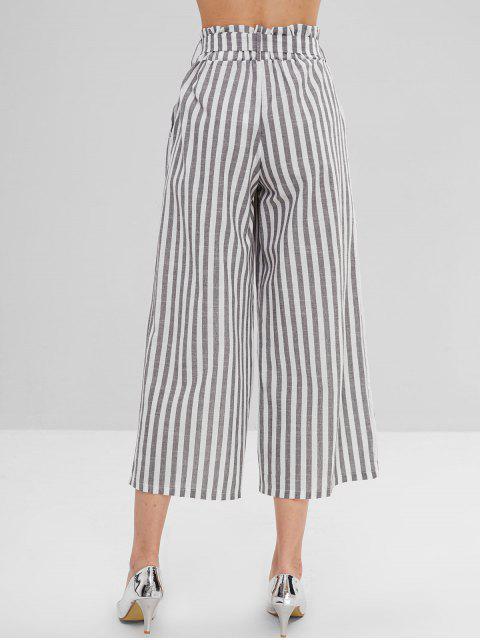 Pantalones de pierna ancha a rayas con cinturón - Multicolor-A L Mobile