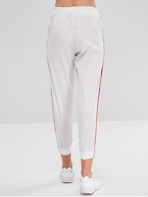 sale Colorful Striped Side Pocket Jogger Pants - WHITE L Mobile