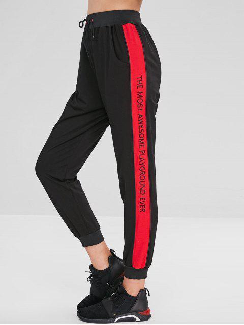 lady Letter Embroidered Color Block Drawstring Pants - BLACK S Mobile