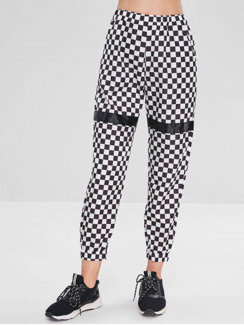 Pantalones de chándal a cuadros con bolsillos - Negro M Mobile