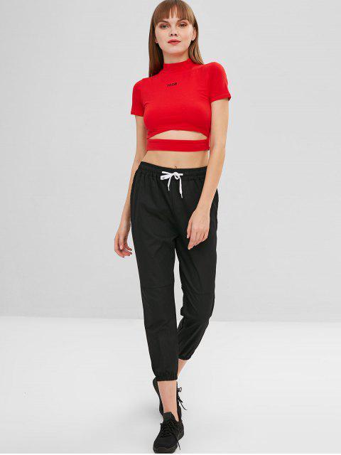 fancy Pocket Drawstring Ninth Jogger Pants - BLACK XL Mobile