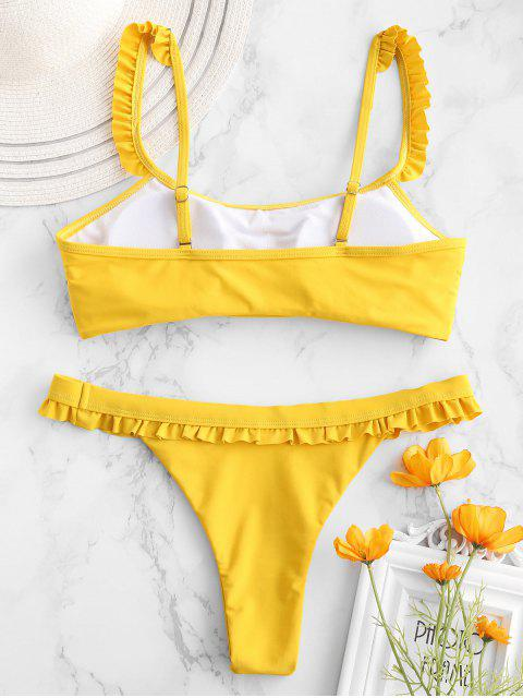 trendy ZAFUL Ruffle Low Waisted Bikini Set - GOLDEN BROWN M Mobile