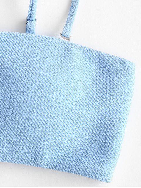 fashion ZAFUL Textured Bandeau Bikini Set - DAY SKY BLUE L Mobile