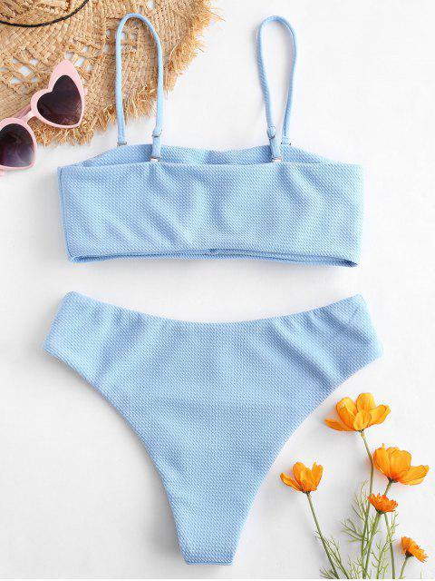 trendy ZAFUL Textured Bandeau Bikini Set - DAY SKY BLUE M Mobile