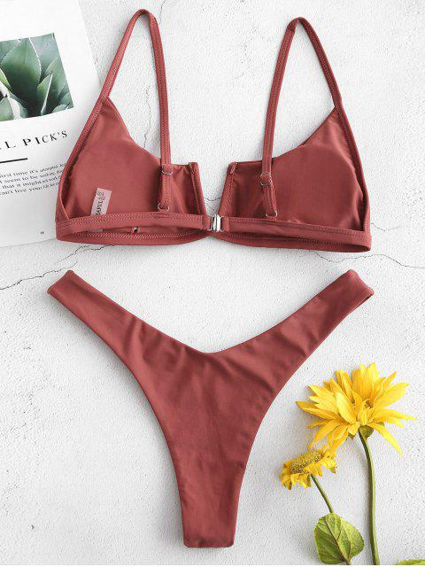 buy V-Wired High Leg Bikini Set - MAHOGANY M Mobile