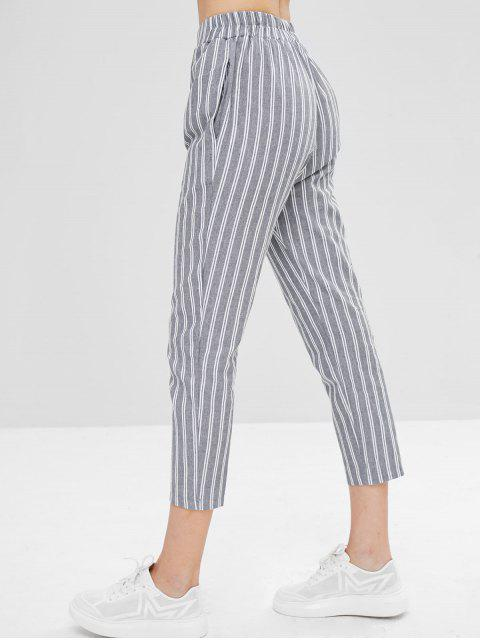 outfit Striped Straight High Waisted Pants - MULTI L Mobile