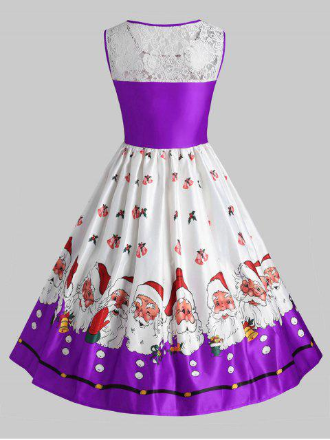 Plus Size Christmas Santa Claus Vintage Flare Dress - 紫色 5X Mobile