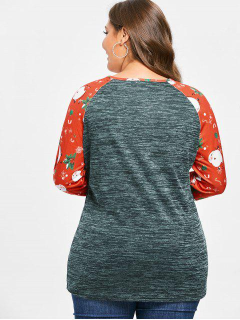 Plus Size Christmas Printed Marled T-shirt - 海綠色 L Mobile
