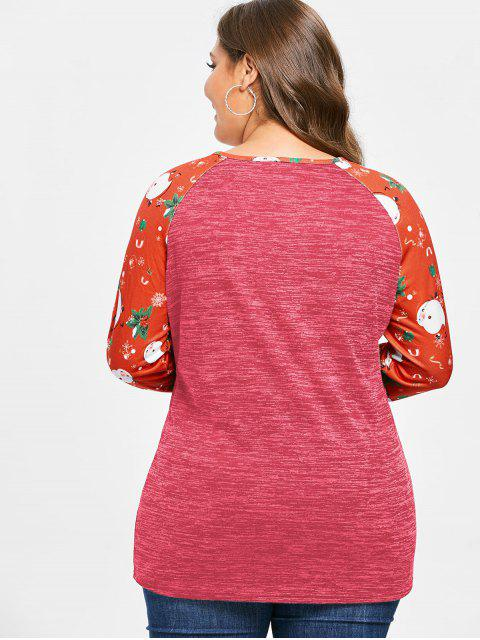 Plus Size Christmas Printed Marled T-shirt - 櫻桃紅 L Mobile