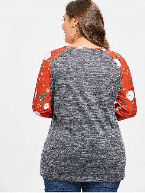 Plus Size Christmas Printed Marled T-shirt - 灰色雲彩 1X Mobile