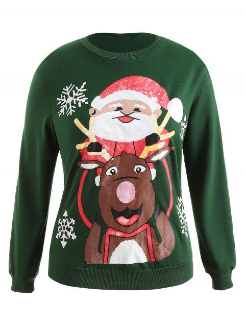 Plus Size Pullover Christmas Graphic Sweatshirt - 深綠色 1X Mobile