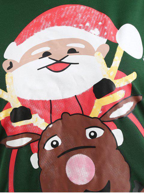 Plus Size Pullover Christmas Graphic Sweatshirt - 深綠色 L Mobile