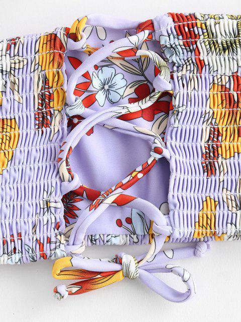 Conjunto De Biquíni Smocked Floral Lace-up Zaful - Cor de Malva S Mobile