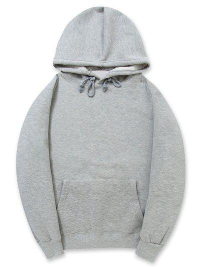 974860c1 Casual Kangaroo Pocket Fleece Solid Color Hoodie - Gray Cloud L ...