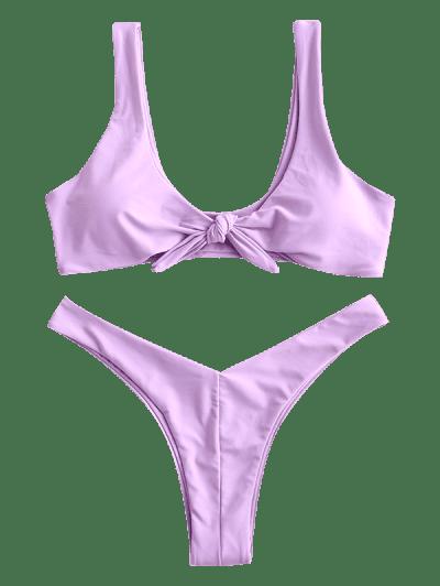 ZAFUL Tie Front High Leg Tank Bikini Swimsuit, Lilac