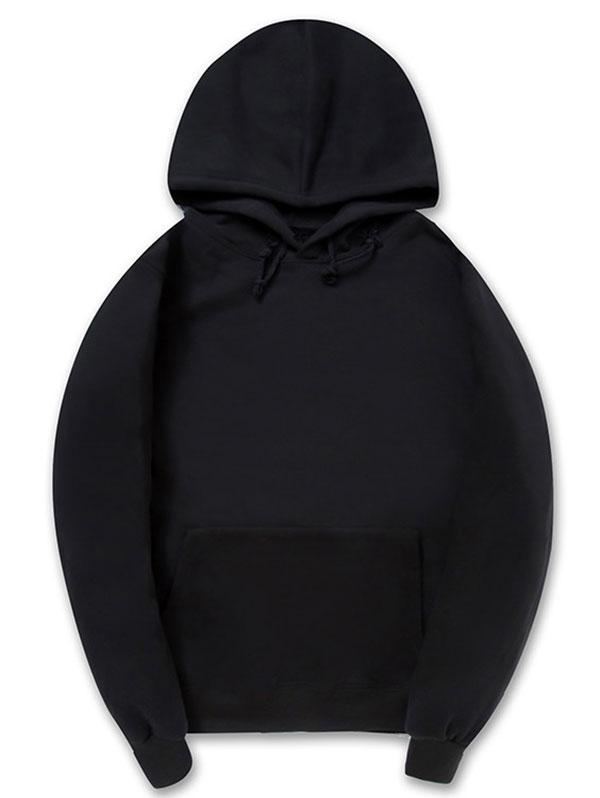 Casual Kangaroo Pocket Fleece Solid Color Hoodie