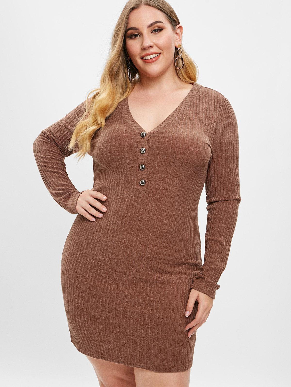 ZAFUL Plus Size Low Cut Knitted Dress