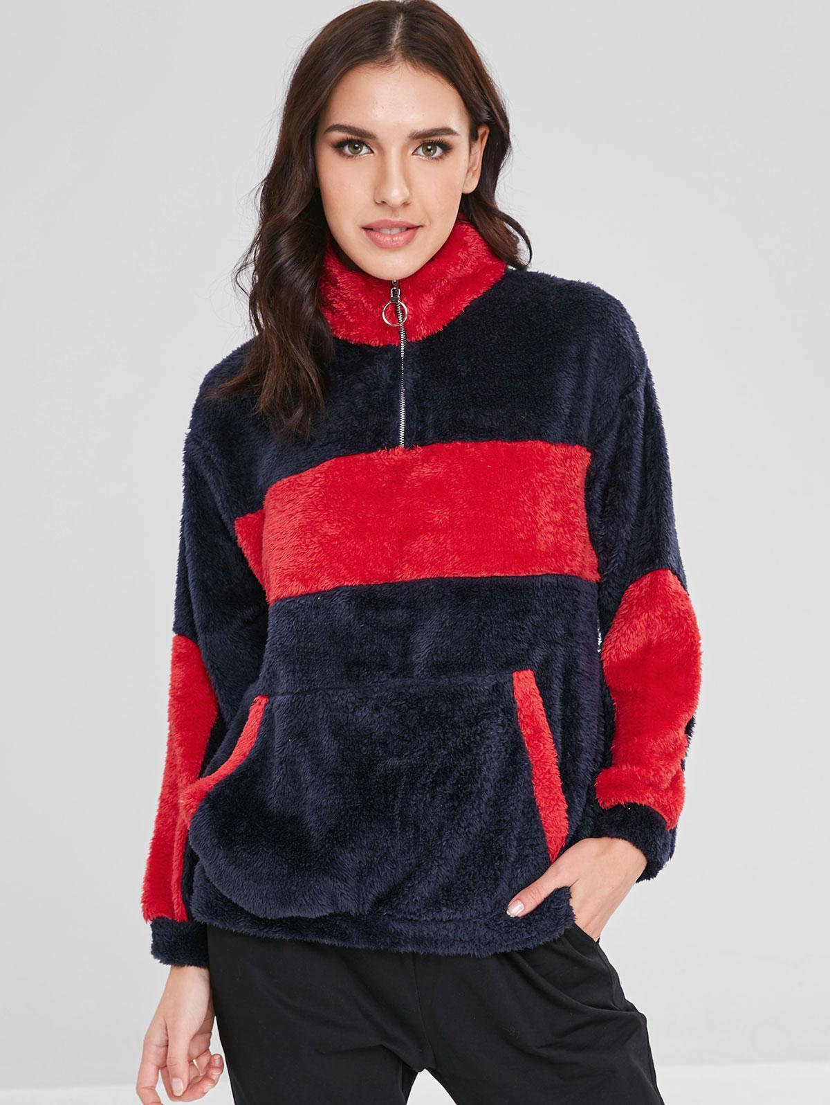 ZAFUL Kangaroo Pocket Two Tone Fluffy Sweatshirt, Dark slate blue