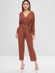 6147a93d7024 24% OFF  2019 Polka Dot Surplice Wide Leg Jumpsuit In LIGHT BROWN ...