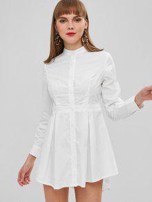 لون خالص زر ذبابة قميص اللباس - أبيض M