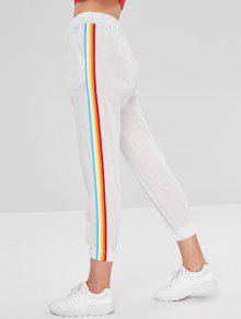 بنطال مقلم طويل بنمط سروال جيب - أبيض L