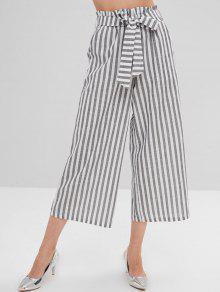 Pantalones de pierna ancha a rayas con cinturón