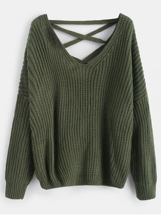 trendy Lace Up Drop Shoulder Chunky Sweater - ARMY GREEN ONE SIZE