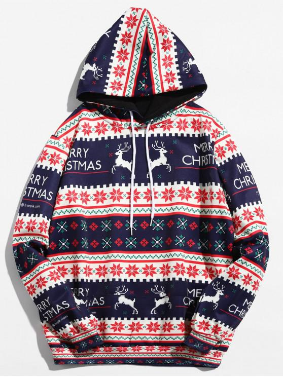 women's Christmas Geometry Pattern Pullover Hoodie - RUBY RED XL