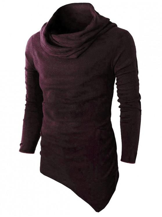 chic Cowl Neck Asymmetrical Sweater - RED WINE XL