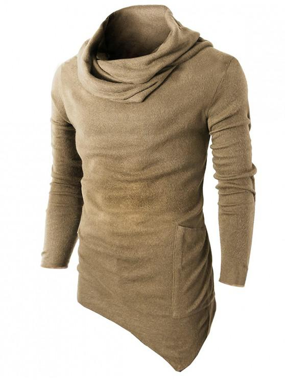 outfit Cowl Neck Asymmetrical Sweater - KHAKI XL