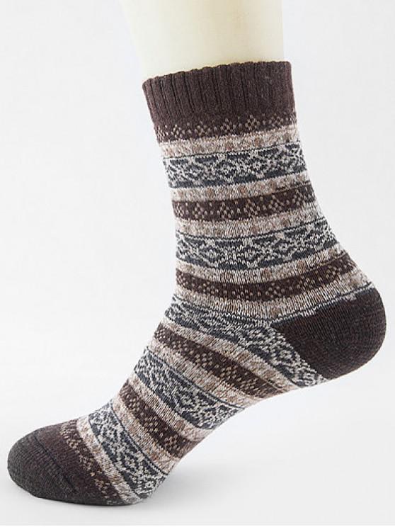 women Ethnic Pattern Thick Crew Socks - DEEP COFFEE