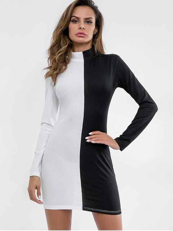 latest High Neck Two Tone Fitted Dress - WHITE L