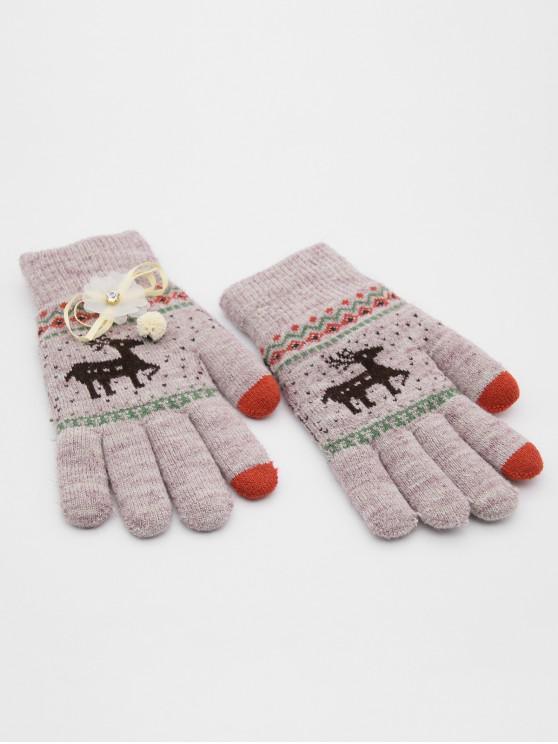 Christmas Elk Rhinestone Full Finger Gloves - أرجواني