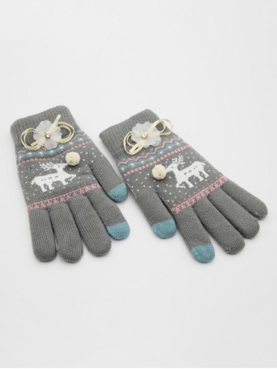 buy Christmas Elk Rhinestone Full Finger Gloves - GRAY