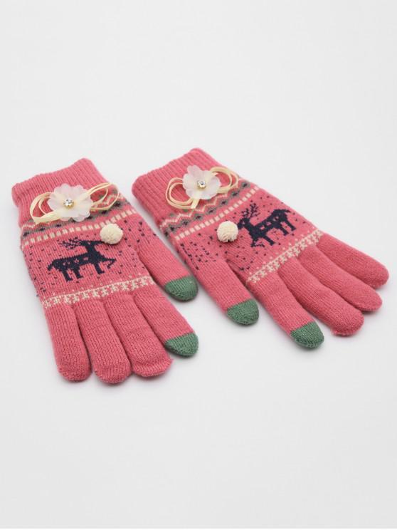 new Christmas Elk Rhinestone Full Finger Gloves - RED