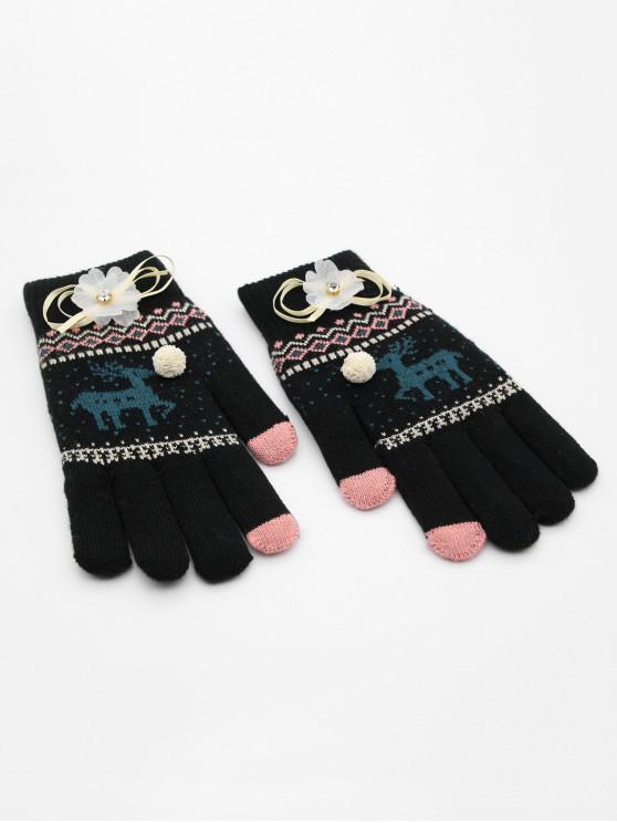 womens Christmas Elk Rhinestone Full Finger Gloves - BLACK