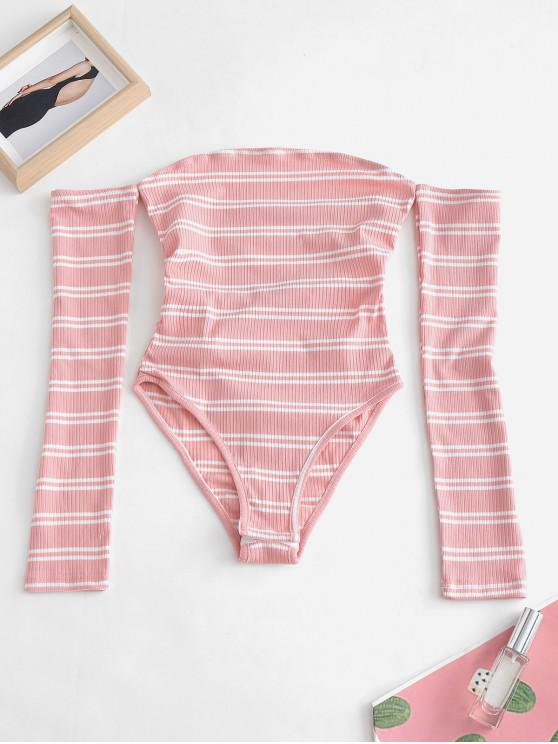 b751a778388f 31% OFF] [HOT] 2019 Lacing Snap Crotch Off The Shoulder Bodysuit In ...