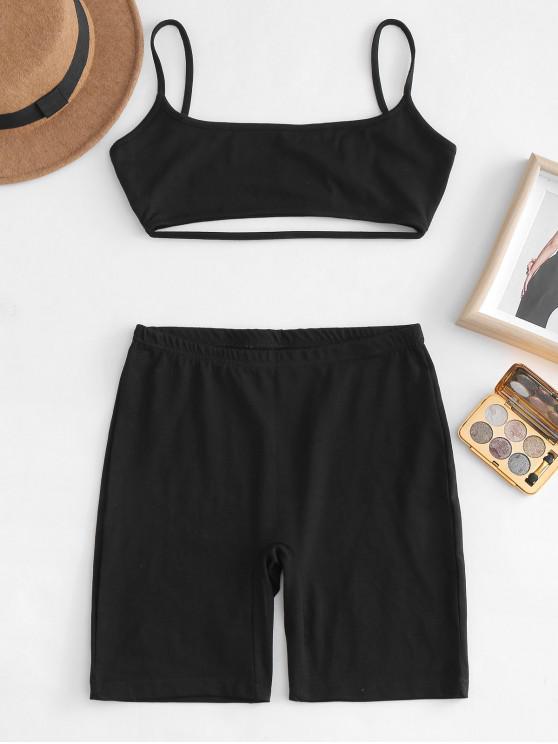Conjunto Cami Top y Shorts Co Ord - Negro M