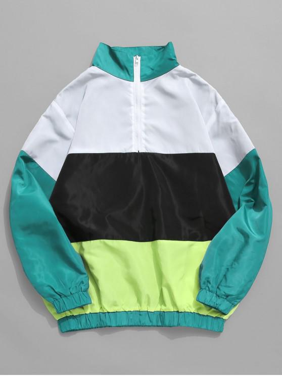 7bfbd7332 25% OFF] 2019 Top Zipper Colorblock Windbreaker Pullover Jacket In ...